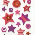 OK031 Assorted Star Design Small Puffy Sticker FREE SHIPPING