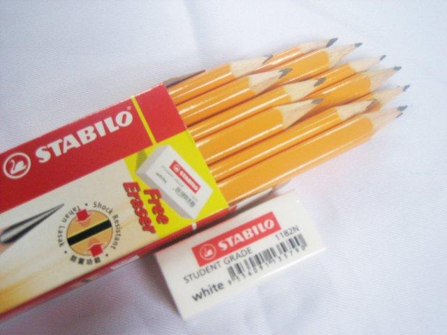 12 Stabilo X-shock 286 Triangular 2B Pencil FOC Eraser