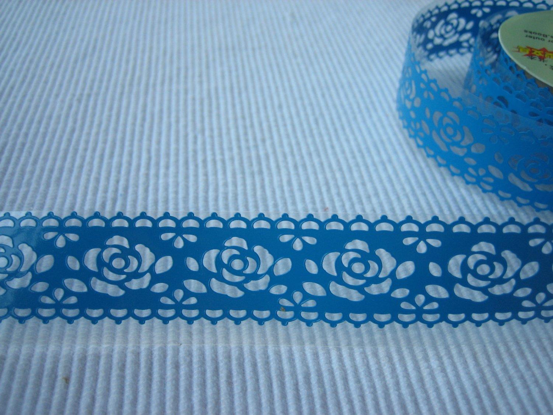 1 roll 24mm x 1m PVC Lace Tape  Roses Design Blue Colour