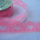 1 roll 24mm x 1m PVC Lace Tape  Heart Design Pink Colour