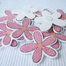 36pcs Wooden Pink Flower Stick On