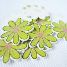 36pcs Wooden Green Flower Stick On