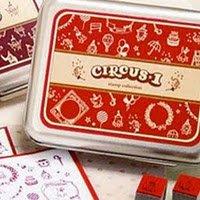 DIY Korean Foam and Rubber Stamp Circus1 12pcs set in Tin Box