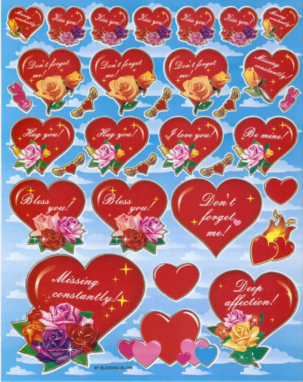10 sheets BL066 Heart Shape Love Removable A4 Sticker