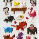 OK004b ANM Zoo Animal Small Puffy Sticker