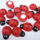 "36pcs 18mm*25mm or 6/8"" * 1"" Wooden Ladybug ladybird Stick On"