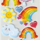 Mr Sun Mrs Cloud and Miss Rainbow Small Puffy Sticker #L03c