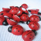 24pcs 21mm x 30mm Wooden Ladybug Ladybird Stick On