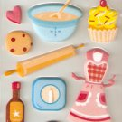Baking Tools and Apron Small Puffy Sticker #H08b