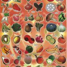 10 sheets ASSORTED FRUITS & VEGETABLES Sticker #TM0031