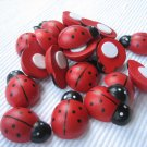*No Shipping Fee Worldwide Bulk 1000pcs 12mm x 15mm Hand Painted Wooden Ladybug ladybird Stick On