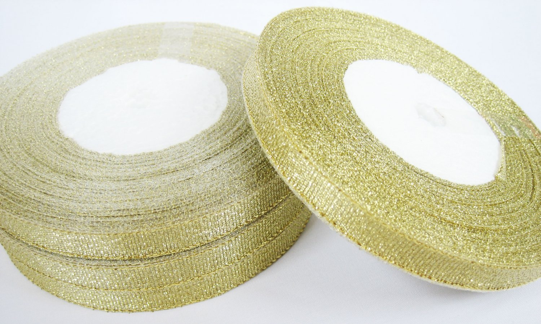 10 rolls of 10mm Metallic Gold Lame Ribbon