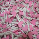 100pcs Wooden Peg with Pink Heart
