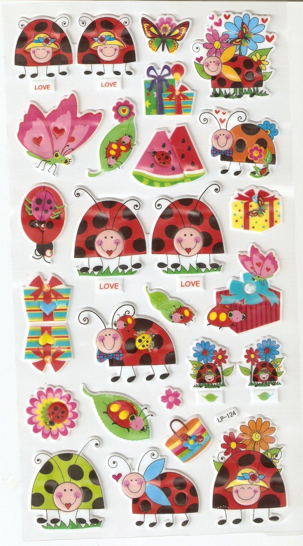 LP 124 1 sheet kawaii Cute Ladybug ladybird Hologram effect Puffy Sticker