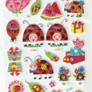 LP 124 1 sheet kawaii Cute Ladybug ladybird Hologram effect Puffy Sticker
