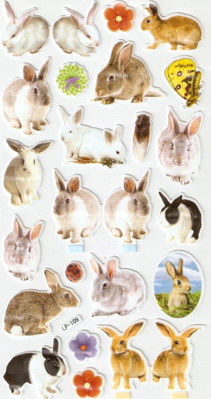 LP09 1 sheet Realistic Rabbit Hologram effect Puffy Sticker