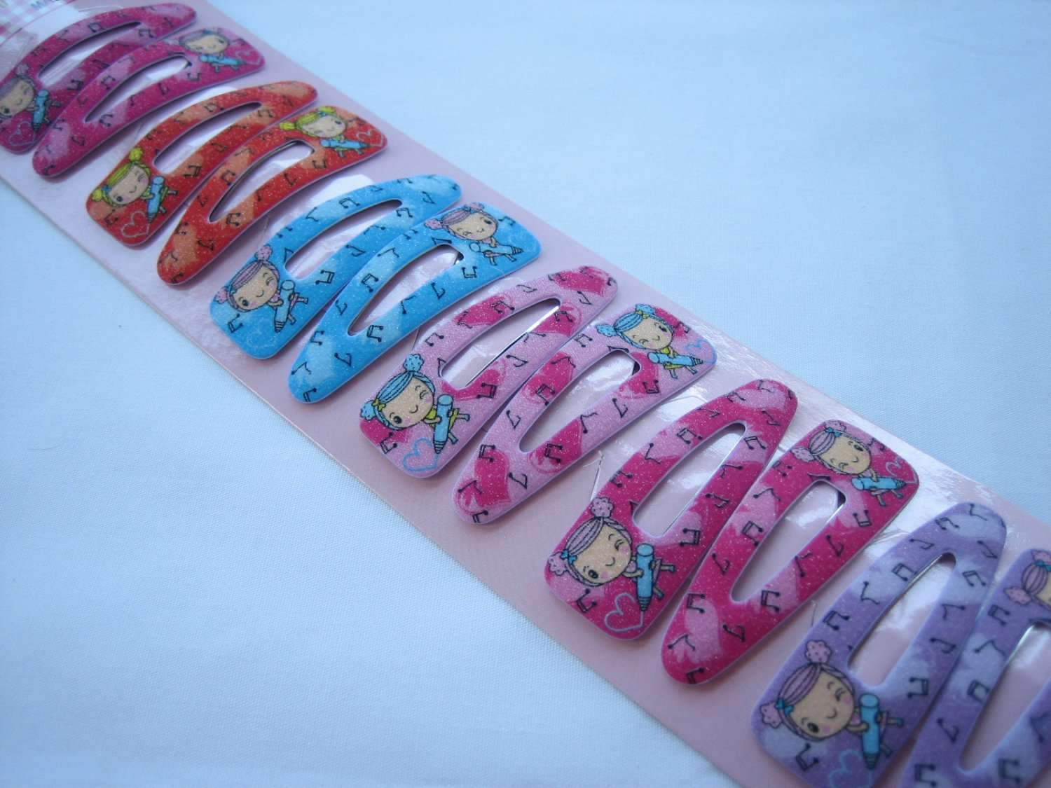 Wholesale 60pcs Girl Crayon and Music Girl Snap Hair Clip 4.5cm (hole)