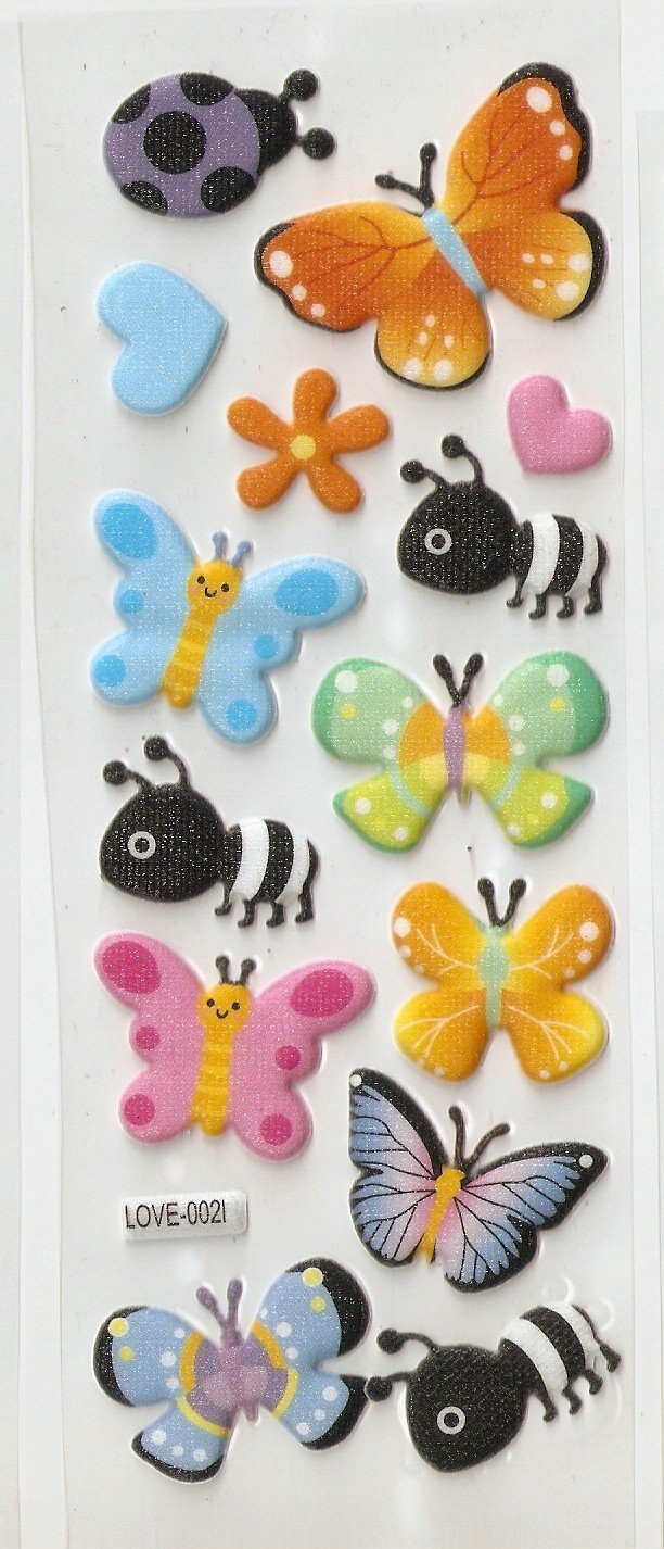 1 sheet Butterfly and Bee Mini Puffy Sticker L0021 FREE SHIPPING