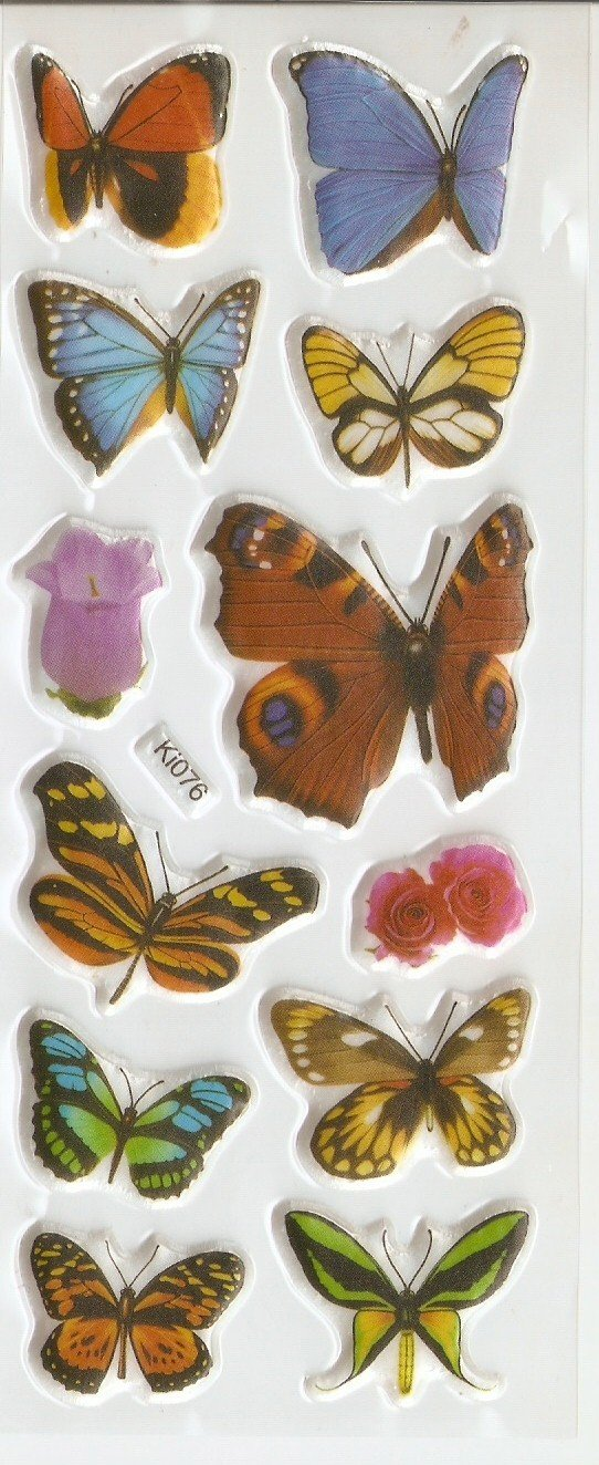 1 sheet Realistic Butterfly Mini Puffy Sticker Ki076 FREE SHIPPING