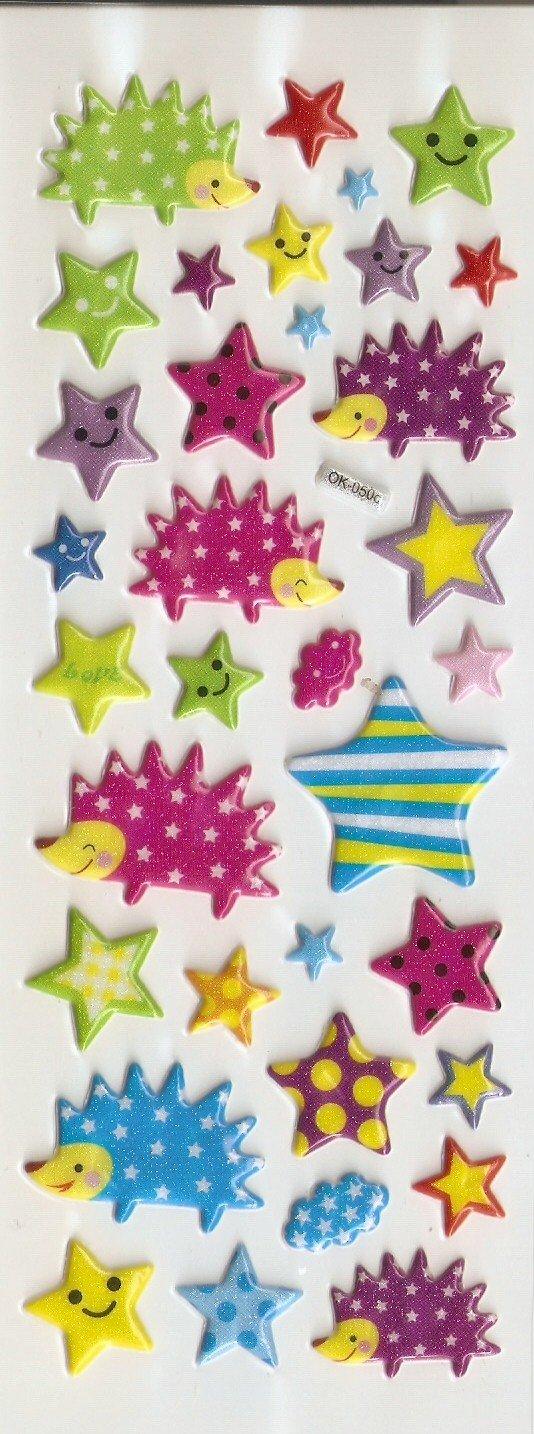 OK050c Star and Hedgehog Mini Puffy Sticker FREE SHIPPING