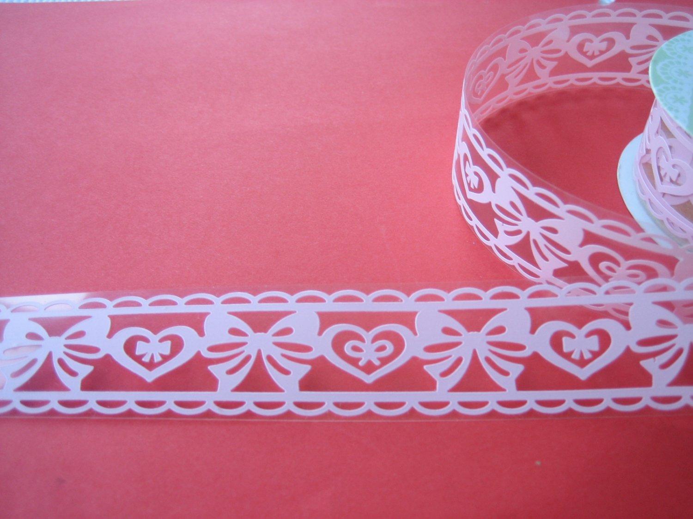 1 roll 24mm x 1m PVC Lace Tape Bow Design White Colour