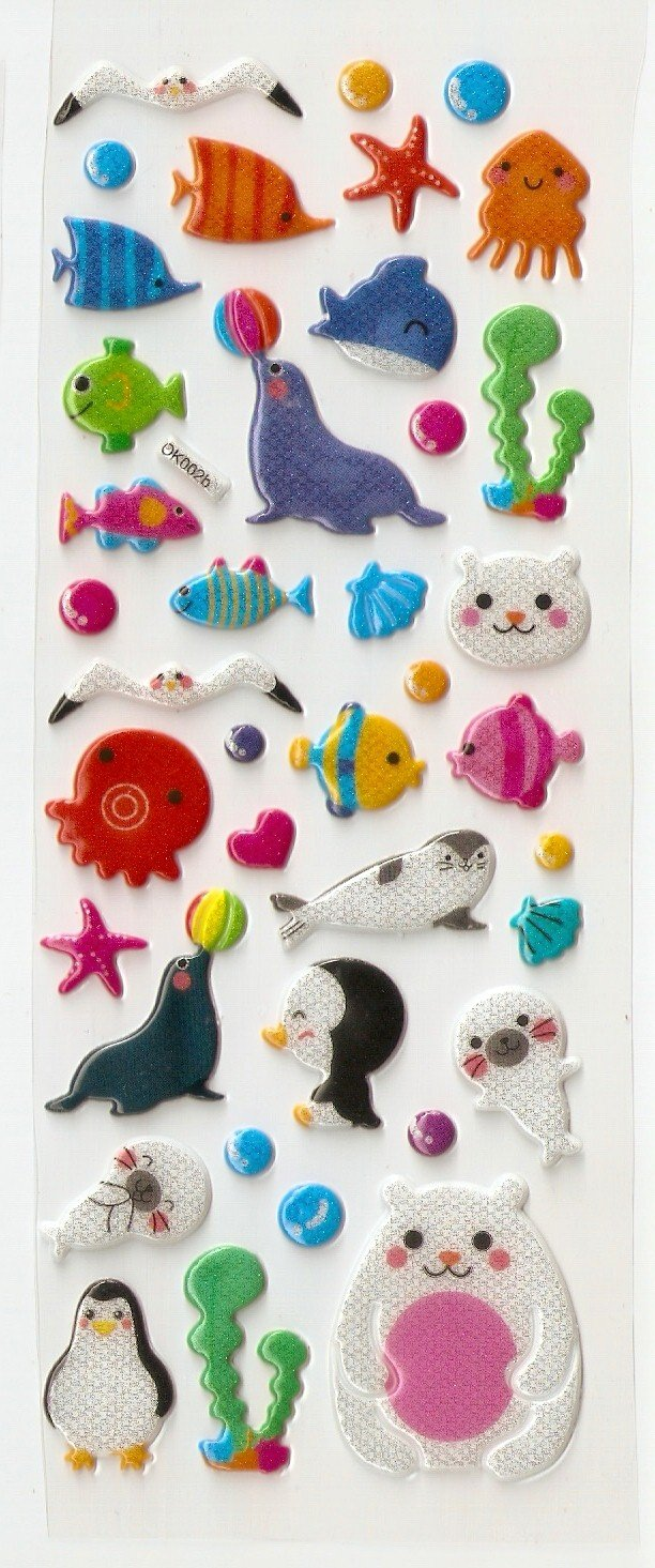Forest and Sea Animal Puffy or Epoxy Stickers