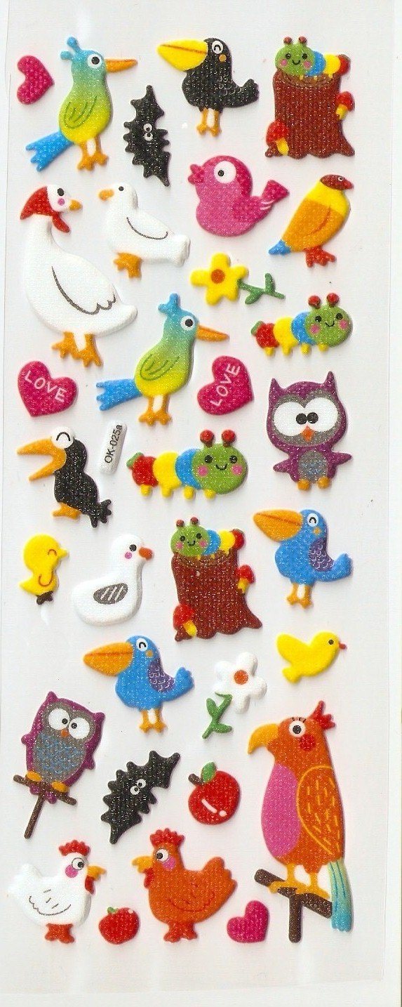OK025a/MP015 Birds Mini Puffy Sticker FREE SHIPPING
