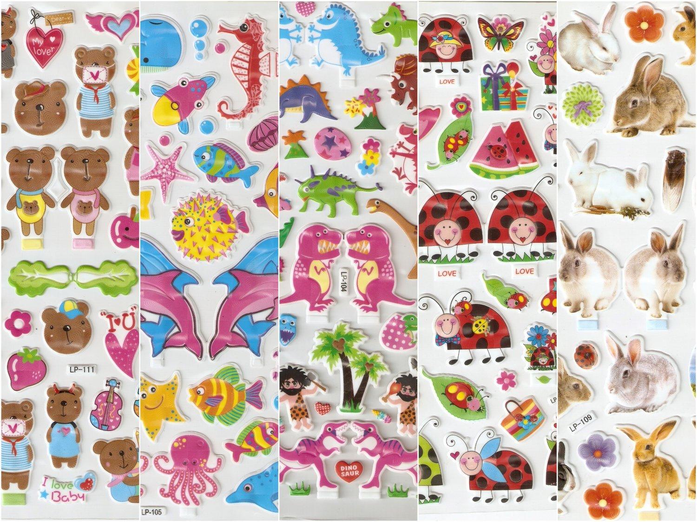 5 packs Mix design Kawaii Hologram effect Puffy Sticker FREE SHIPPING