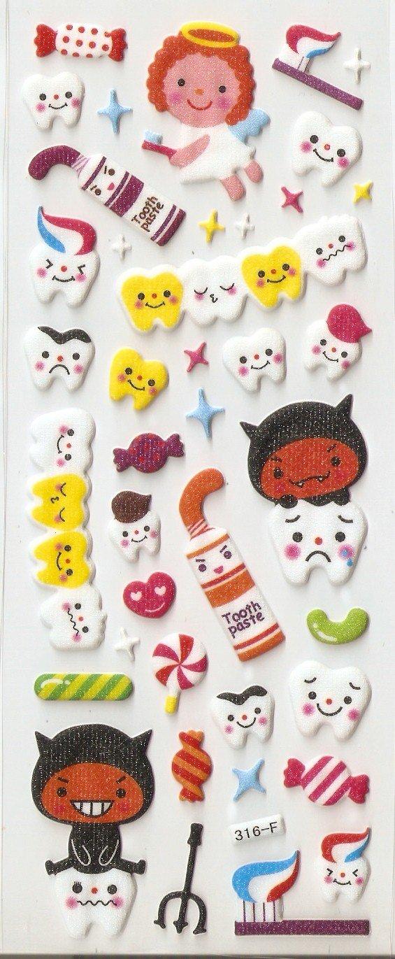 316F Tooth Fairy & Evil Mini Puffy Sticker No Shipping Fee