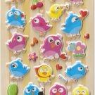 GZA1016 Happy Birds Mini Puffy Sticker FREE SHIPPING