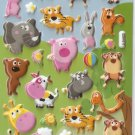 GZA1017 Zoo Animal Mini Puffy Sticker FREE SHIPPING