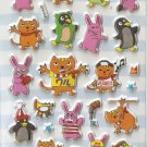 GZA1018 Comic Animal Mini Puffy Sticker FREE SHIPPING