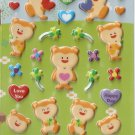GZA1029 Bear's Happy Day Mini Puffy Sticker FREE SHIPPING