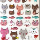 TP020 Animal Cat Mini Puffy Sticker FREE SHIPPING