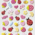 HAP1014 Bees Bug Mushroom Stawberry Mini Puffy Sticker FREE SHIPPING