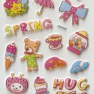 CHA1018 Lovely Spring Mini Puffy Sticker FREE SHIPPING
