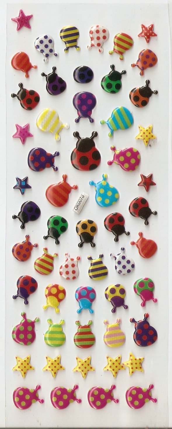 OK007d Ladybug Mini Puffy Sticker FREE SHIPPING