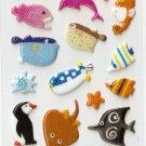 OK029c Fish & Penguin Mini Puffy Sticker FREE SHIPPING