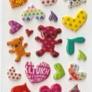 OK003A Heart Teddy Mini Puffy Sticker FREE SHIPPING