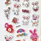 OK021e Rabbit Love Mini Puffy Sticker FREE SHIPPING