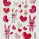 OK003B Heart Rabbit Mini Puffy Sticker FREE SHIPPING