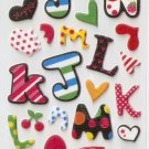 OK022b Letter Alphabet Mini Puffy Sticker FREE SHIPPING