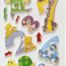 OK054d Number Animal Mini Puffy Sticker FREE SHIPPING
