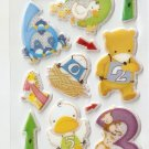 OK054c Number Animal Mini Puffy Sticker FREE SHIPPING