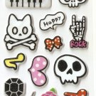 OK048c Skull X Mini Puffy Sticker FREE SHIPPING