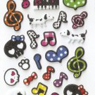 OK023f Skulls & Music Mini Puffy Sticker FREE SHIPPING