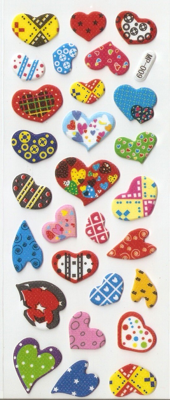 MP009 Heart Mini Puffy Sticker FREE SHIPPING