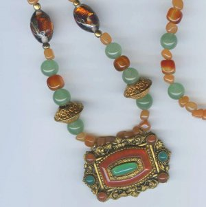 Sophie Necklace - Green and Pink Aventurine, Carnelian, Vintage Czech Focal Pendant