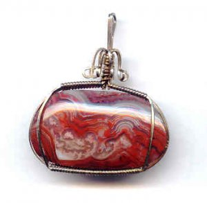 Banded Red Agate Sterling Wire Wrap Pendant
