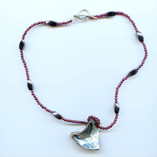 Garnet, Abalone, Hematite, and Sterling Silver Necklace